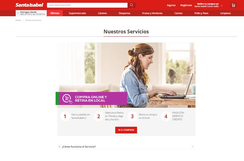 servicios de despacho en Supermercados Santa Isabel