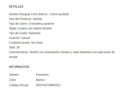 Ficha de producto de tienda Dafiti