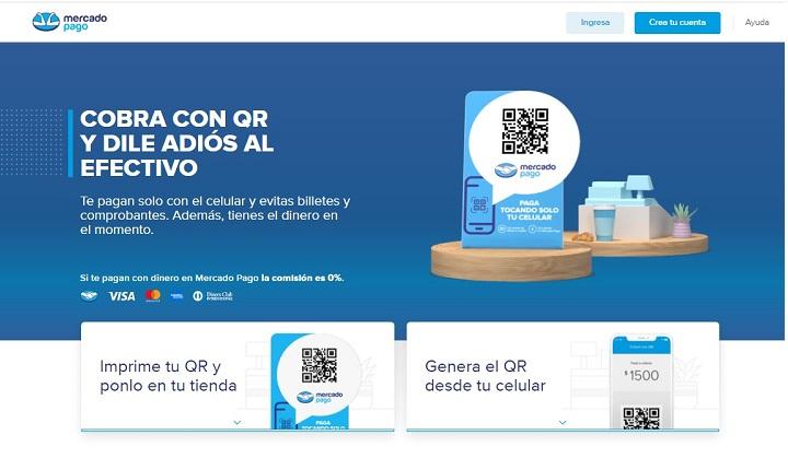Home de Mercado Pago para códigos QR en Chile