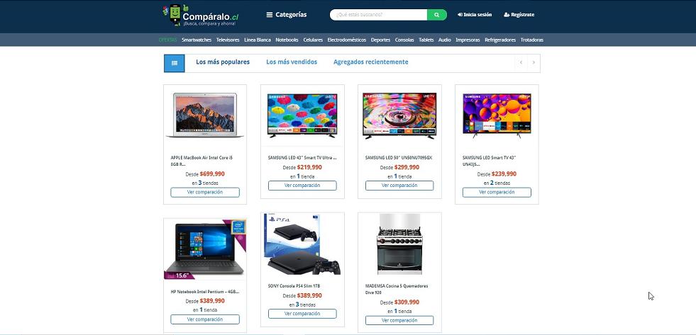 Home de Comparalo,cl, una de las páginas de comparadores de precios en Chile.