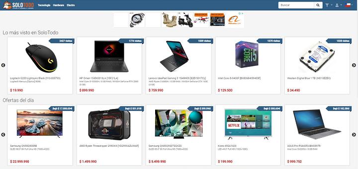 Home de Solo Todo, plataforma online que forma parte de los comparadores de precios en Chile.