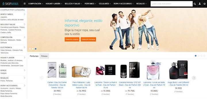 Home de Shop Manía, página web que es uno de los comparadores de precios de Perú.