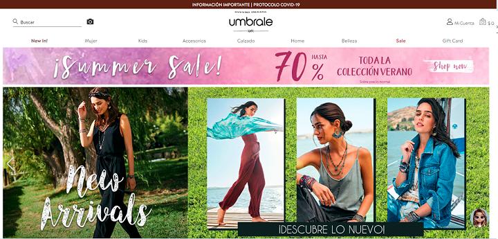 Home Umbrale/ eCommerce de moda en Chile