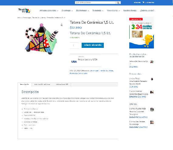 Ficha de producto Tienda Bci
