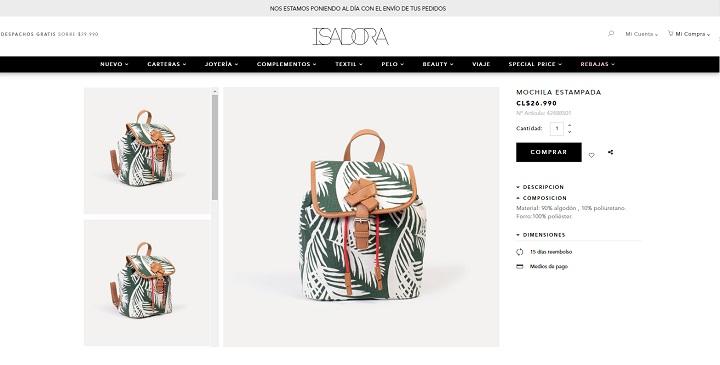 Tienda online Isadora / Ficha de producto